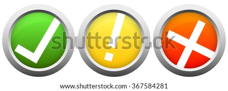 collection of colored buttons with silver frame and check mark, exclamation mark and cross