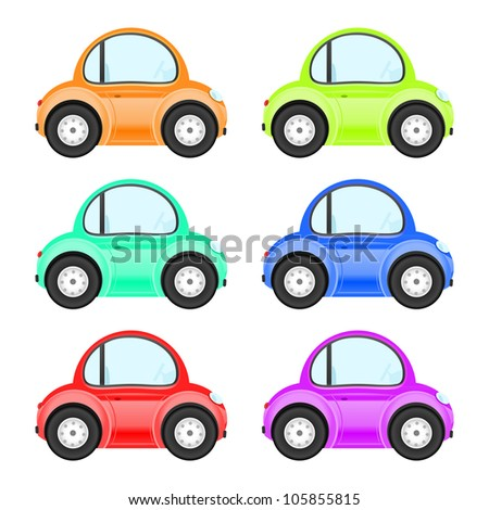 Collection of colored cars - stock vector