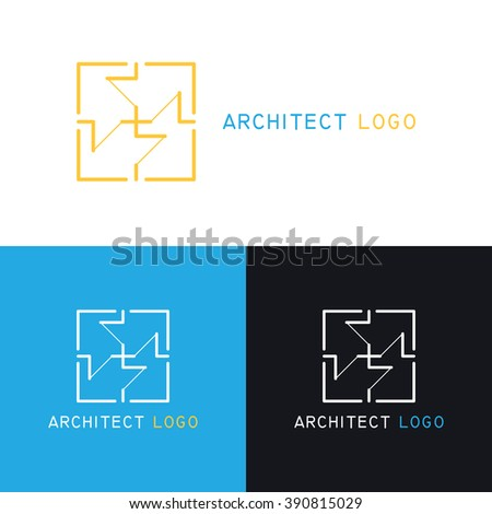 Collection of colorful Architecture logo.Template for Architecture Company,Architecture Studio.Interior design,architecture plan.Design elements,shapes,icon in trendy linear style.Vector illustration - stock vector