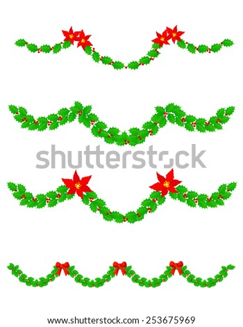 Collection of colorful christmas garlands with red poinsettia flowers and holly leaves - stock vector