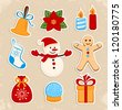 Collection of colorful Christmas stickers - stock