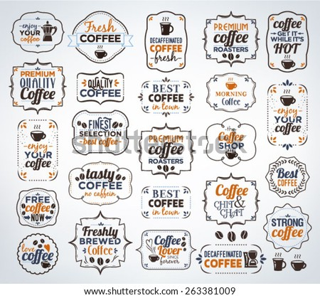 Collection Of Colorful Coffee Calligraphic And Typographic Vintage Design Elements - stock vector