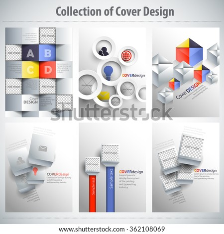 Collection of colorful Cover Design, vector brochure, flyer template. Can be used as concept for your graphic design. Proportionally for A4 size