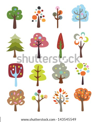Collection of colorful cute trees - stock vector