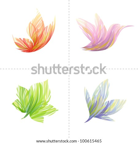 Collection of colorful design elements: butterfly, hummingbird, leaf, flower. Vector illustration. - stock vector