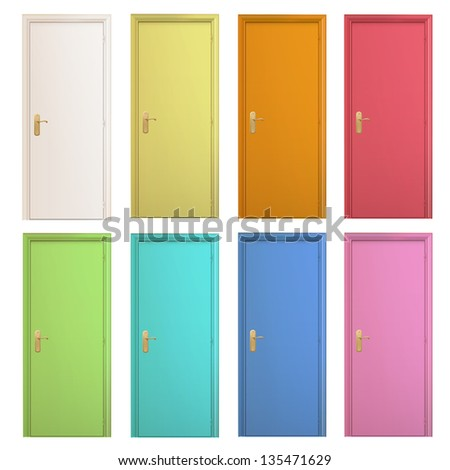 Collection of colorful doors on isolated background. Vector design. - stock vector