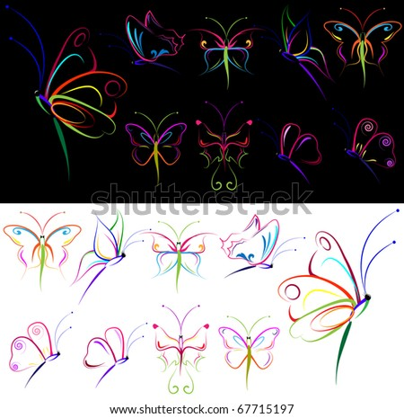 collection of colorful drawing butterflies - stock vector