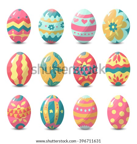 Collection of colorful easter eggs with random holiday pattern, vector illustration - stock vector