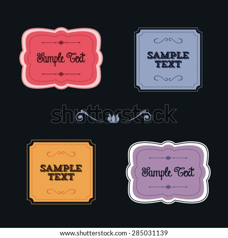 Collection of colorful frames and borders with copy space text on a black background