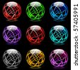 Collection of colorful glossy spheres isolated on black. Set #15. - stock photo