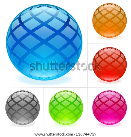 Collection of colorful glossy spheres isolated on white. - stock vector