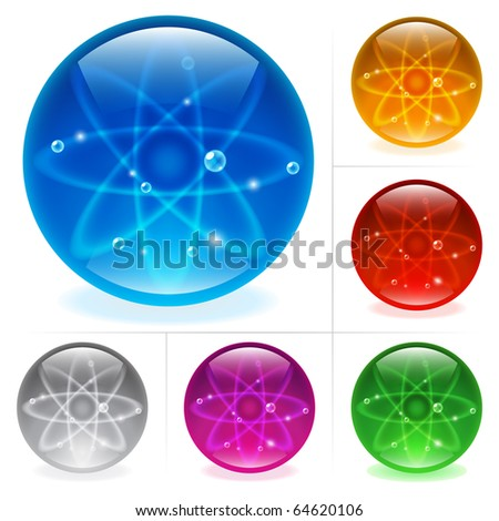Collection of colorful glossy spheres isolated on white. Science. - stock vector