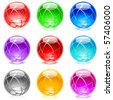 Collection of colorful glossy spheres isolated on white. Set #18. - stock photo
