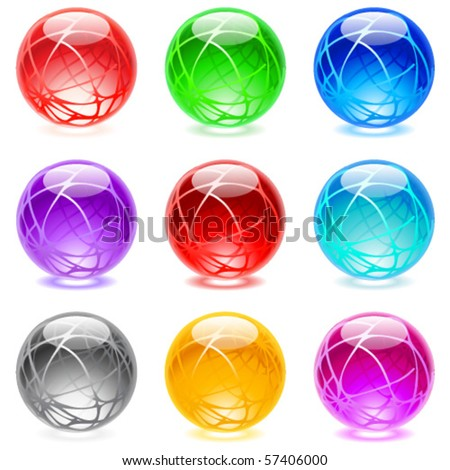 Collection of colorful glossy spheres isolated on white. Set #18. - stock vector