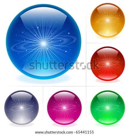 Collection of colorful glossy spheres isolated on white. Solar system. - stock vector