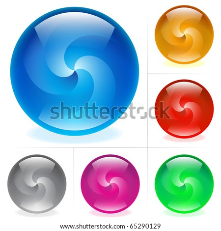 Collection of colorful glossy spheres isolated on white. Swirl. - stock vector