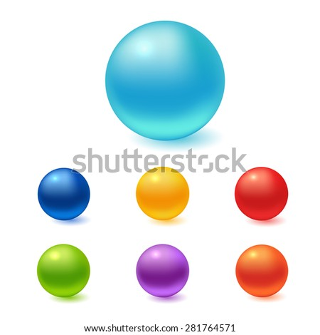 Collection of colorful glossy spheres isolated on white. Vector illustration for your design. - stock vector