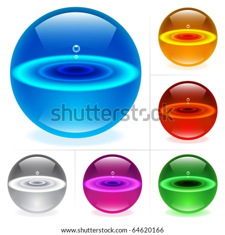 Collection of colorful glossy spheres isolated on white. Water with drops; - stock vector