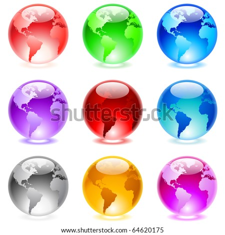 Collection of colorful glossy spheres isolated on white. World globe. - stock vector