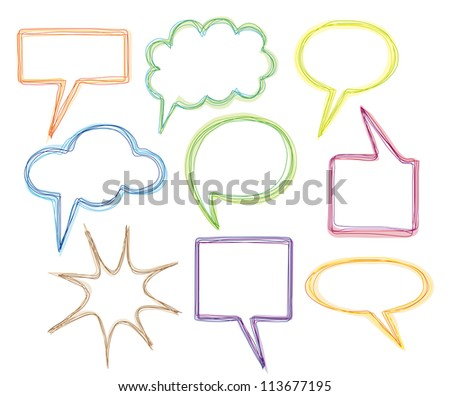 Collection of Colorful Hand Drawn Speech Bubbles Isolated on White Background - stock vector