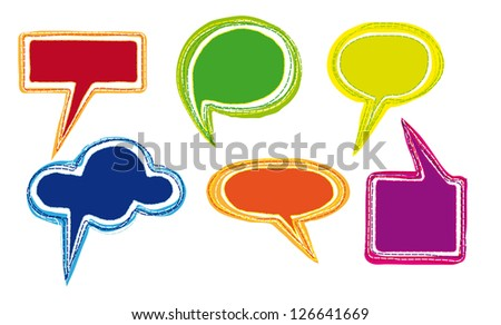 Collection of Colorful Hand Drawn Speech Bubbles Isolated on White Background - vector graphics - stock vector