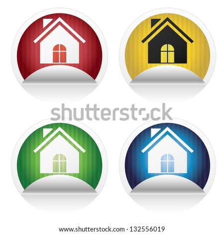 collection of colorful home symbol stickers isolated on white background. vector - stock vector