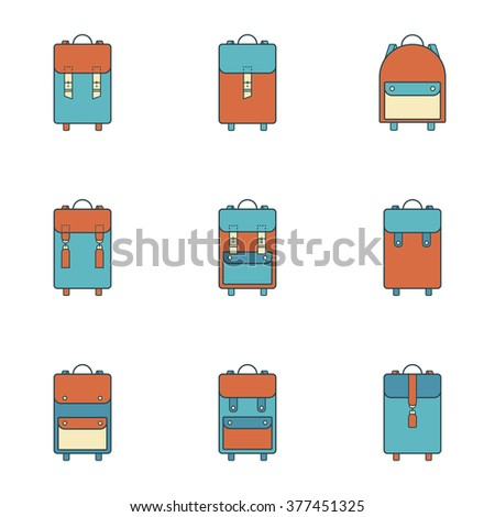 Collection of 9 colorful icons of backpack.Symbols of handmade vintage Bag.Leather goods.Skinner work.Stylish Logo.Linear,hipster,flat style.Template.Old design.Vector illustration.Isolated on white  - stock vector