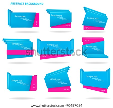 Collection of colorful origami paper banners. Vector illustration - stock vector