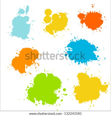 Collection of colorful paint splash. Vector set of brush strokes. Isolated on white background - stock vector