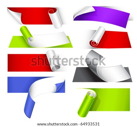 Collection of colorful papers with a curl - stock vector