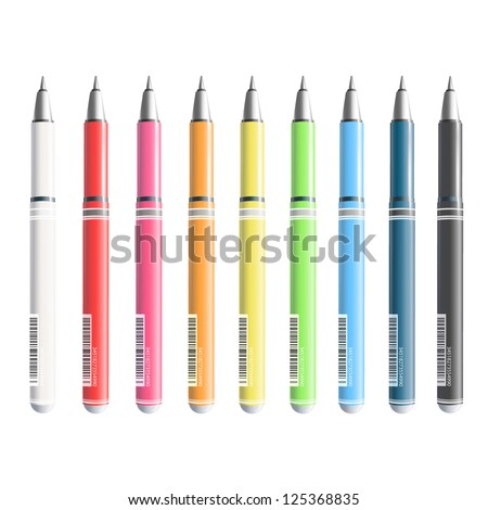 Collection of colorful pens. Vetor design.