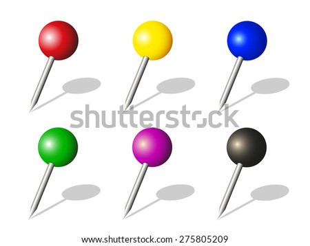 Collection of colorful pushpins,  vector illustration isolated on white background  - stock vector