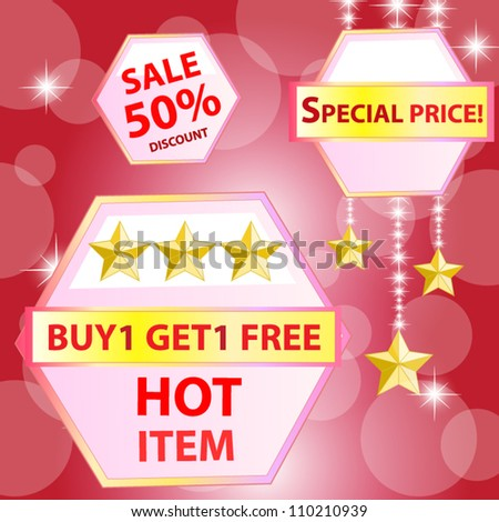 Collection of colorful sale labels, stamps, stickers, corners, tags. Discount and hot item. Vector illustration - stock vector