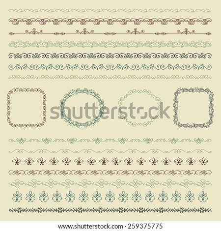 Collection of Colorful Seamless Hand Drawn Doodle Vintage Borders and Frames. Vector Illustration - stock vector