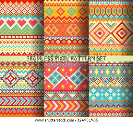 Collection of colorful seamless pixel patterns. Vector illustration. - stock vector