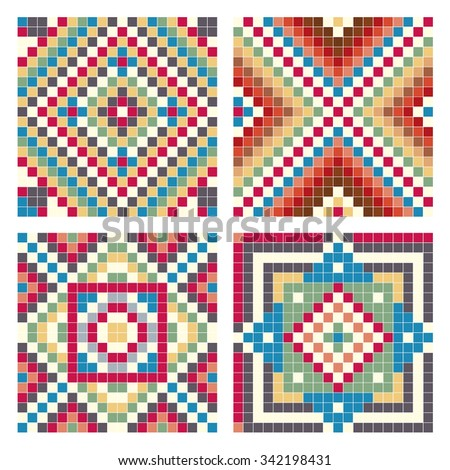 Collection of colorful seamless pixel patterns. Vector illustration.