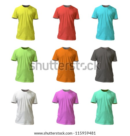 Collection of colorful shirt design. Vector illustration. - stock vector