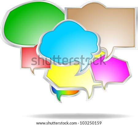 Collection of colorful speech and thought vector - stock vector