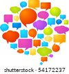 Collection of colorful speech bubbles and dialog balloons - stock photo