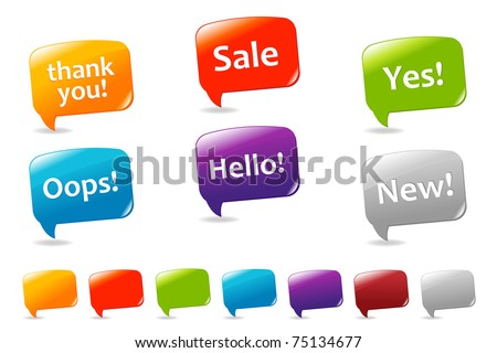 Collection Of Colorful Speech Bubbles And Dialog Balloons, Isolated On White Background, Vector Illustration - stock vector
