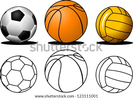 collection of colorful; sports balls (vector illustration);