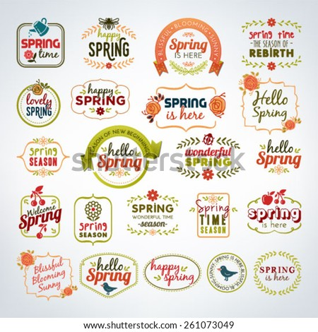 Collection Of Colorful Spring Calligraphic And Typographic Vintage Design Elements