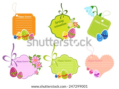 Collection of colorful stickers and labels with Easter eggs - stock vector
