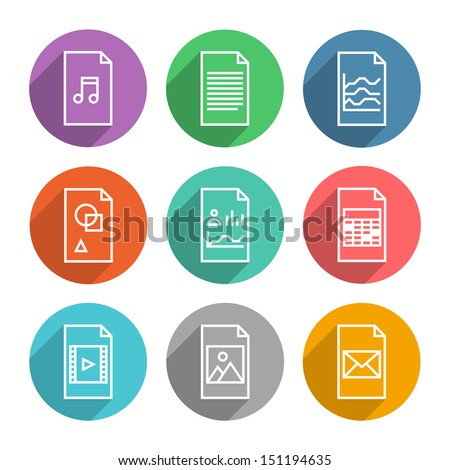 Collection of colorful vector icons in modern flat design style of various program file or document type version. Isolated on white background. - stock vector