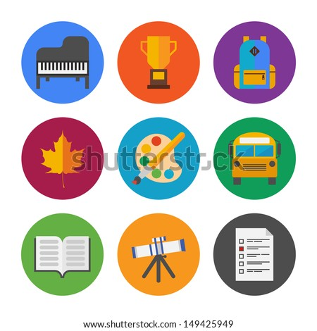 Collection of colorful vector icons in modern flat design style on school and education theme.  Isolated on white background.  - stock vector