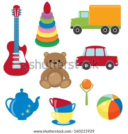 Collection of colorful vector toys - stock vector
