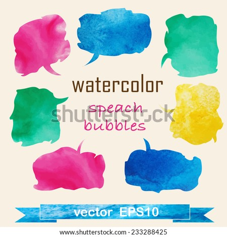 Collection of Colorful  Watercolor Speech And Thought Bubbles. Vector illustration - stock vector