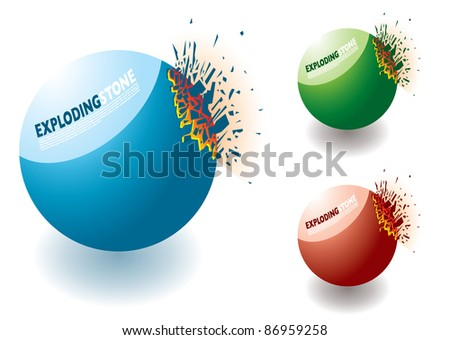 Collection of colourful exploding stones with copyspace - stock vector