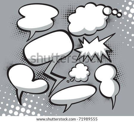 Collection of comic speech bubbles. Editable Vector illustration. - stock vector