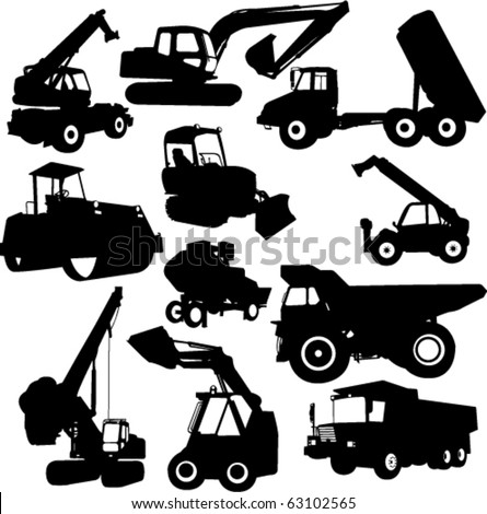 collection of construction machine - vector - stock vector